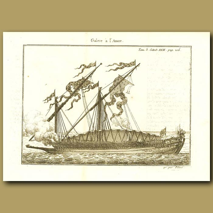 Antique print. Galley With Anchors