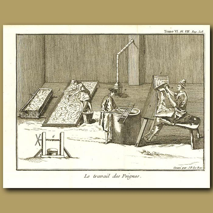 Antique print. Combing The Wool