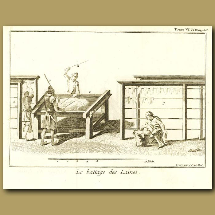 Antique print. Beating The Wool