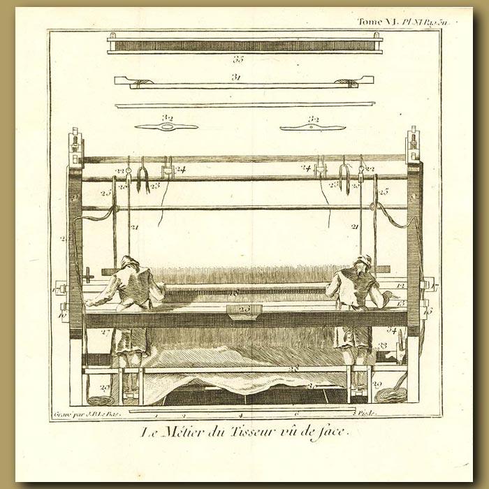 Antique print. Weaving Frame