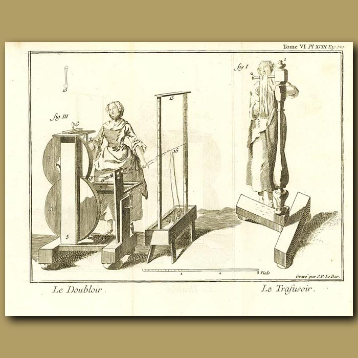 Antique print. Spinning The Wool