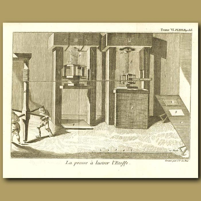 Antique print. The Press For Making Lustrous Cloth