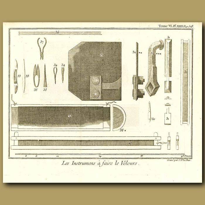 Antique print. Instruments To Make Velvet