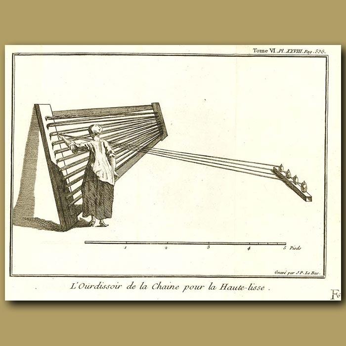 Antique print. Warping Frame