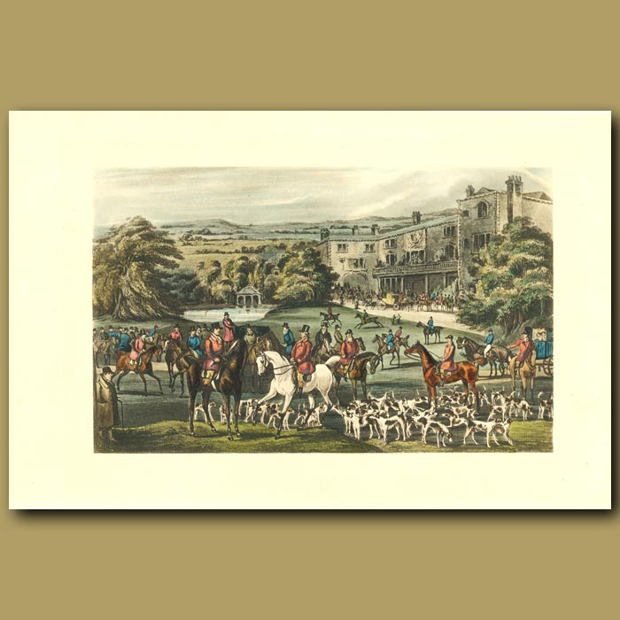 Antique print. Amstead Abbey: Hunters On Their Horses