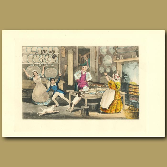 Antique print. Yoicks! Talley-Ho! Look Out For The Pastry: Dogs Chasing A Cat Through The Kitchen