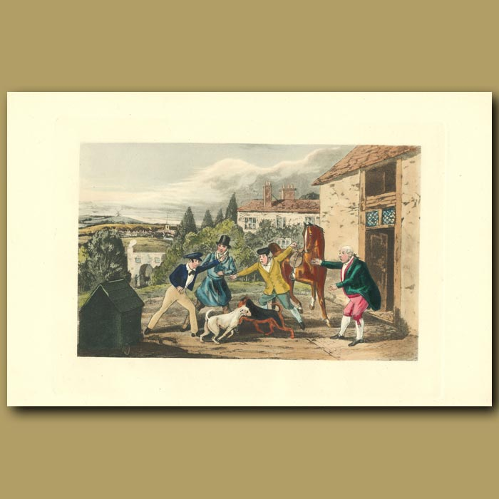 Antique print. Never Mind 'em - They Won't Hurt!: Dog Fight Outside A Country Pub