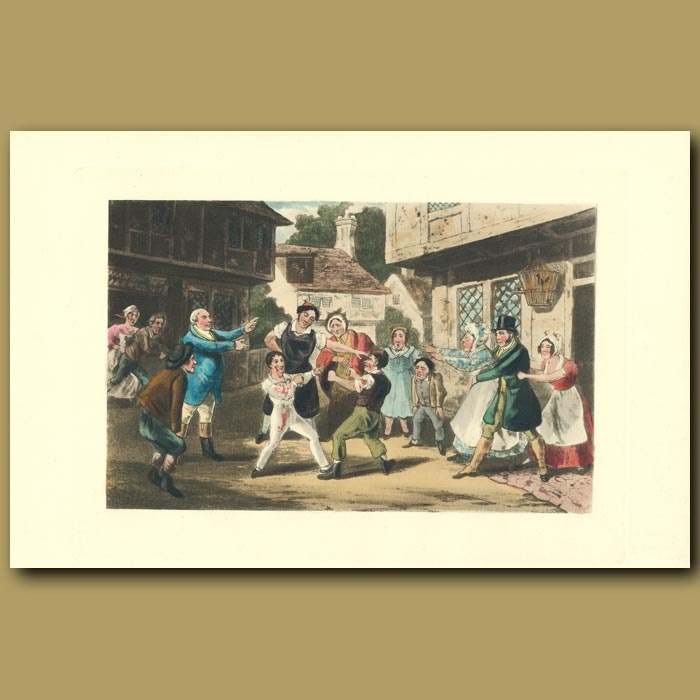 Antique print. He'll Leather Two Such Chaps As That: Two Youths Boxing In The Street
