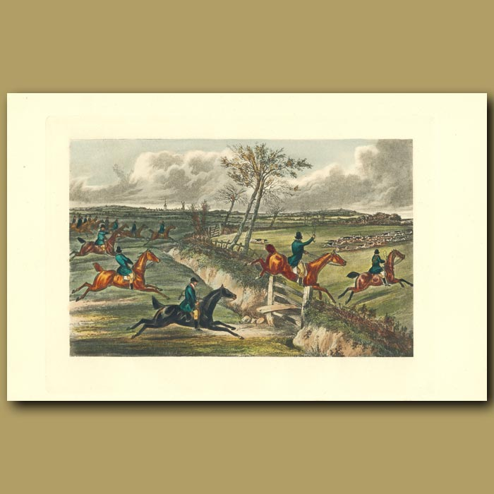 Antique print. You Are Worth Double What I Gave For You!: Hunting On Horses