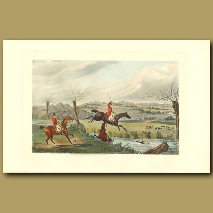 Antique print. His Reverence Swims Like A Cork!: Horse And Rider In The Stream