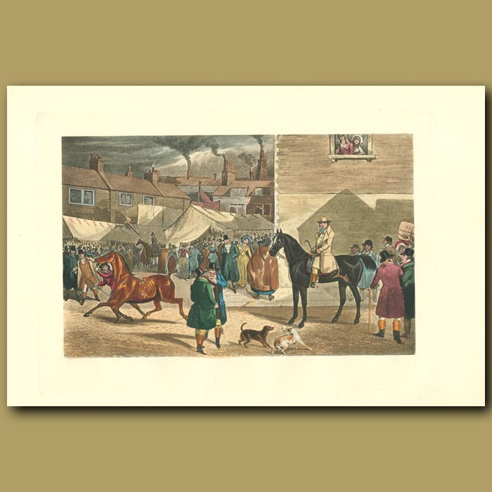 Antique print. What's The Price Of The Young Nag, Miller: Market Day In Town