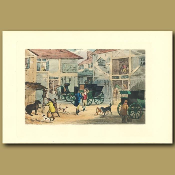 Antique print. All Captain Askham's, Sir: Coaches In A Yard