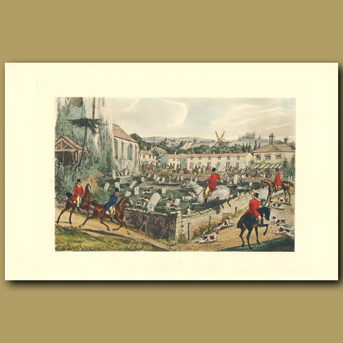 Antique print. He Is Among The Dead: The Fox Hunt In The Cemetery