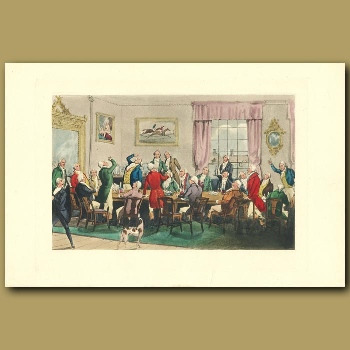 Antique print. Mr. Ridgeway's Good Health: Gentlemen Eating And Drinking