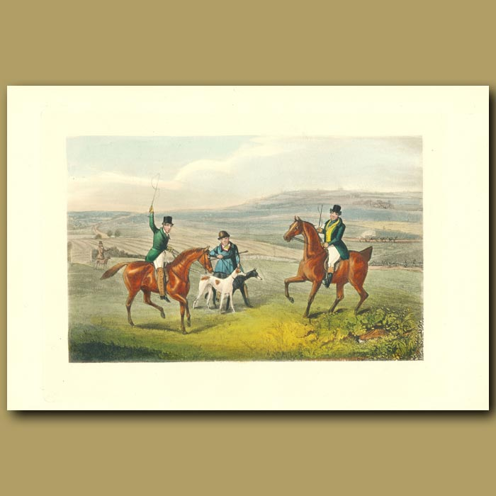 Antique print. Soho!: Riders And Horses In The English Countryside