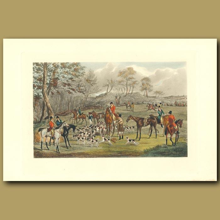 Antique print. A Meet With His Grace The Duke Of Rutland: Fox Hunting
