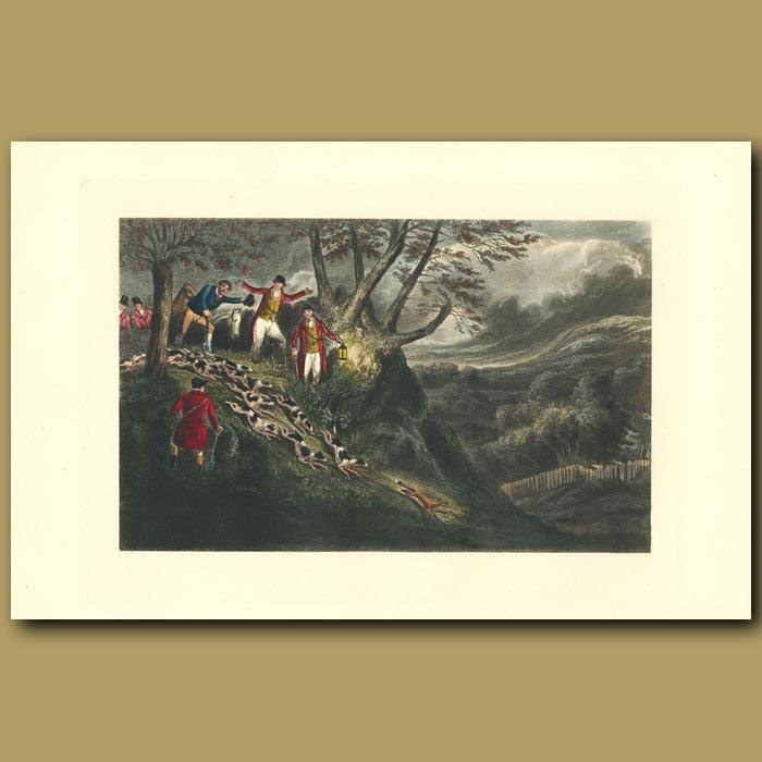 Antique print. A Night Scene With Sir Thomas Mostyn: Fox Hunting At Night