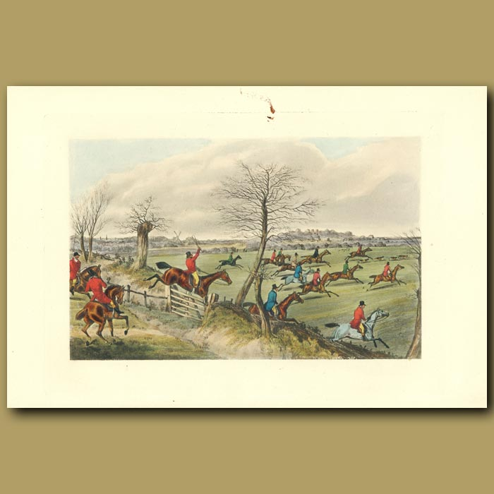 Antique print. Not Handel's Sweet Music More Pleases The Ear, Than That Of The Hounds In Full Cry: Horses And Riders Galloping Over The Fields
