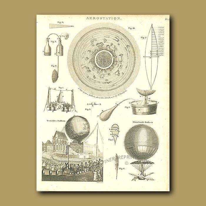 Antique print. Aerostation