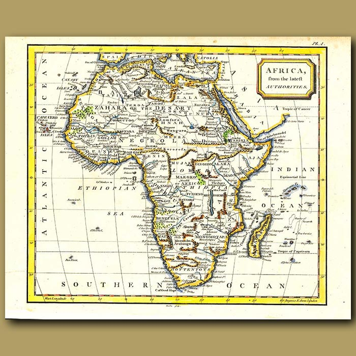 Antique print. Map Of Africa From The Latest Authorities
