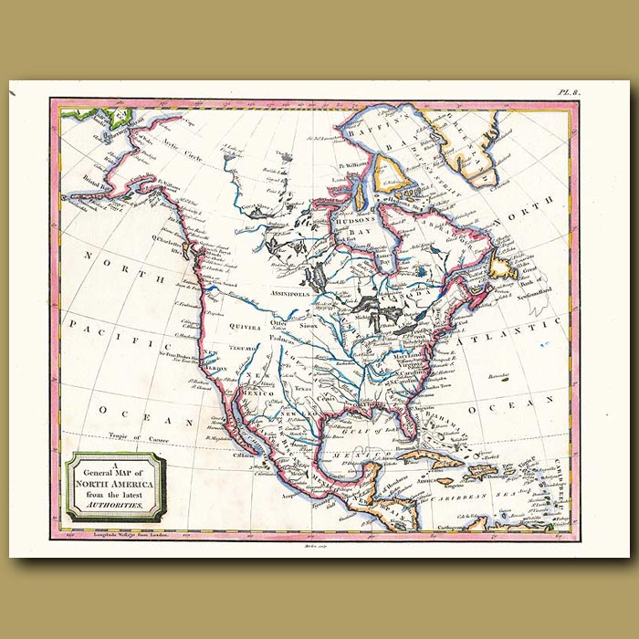 Antique print. A General Map Of North America From The Latest Authorities