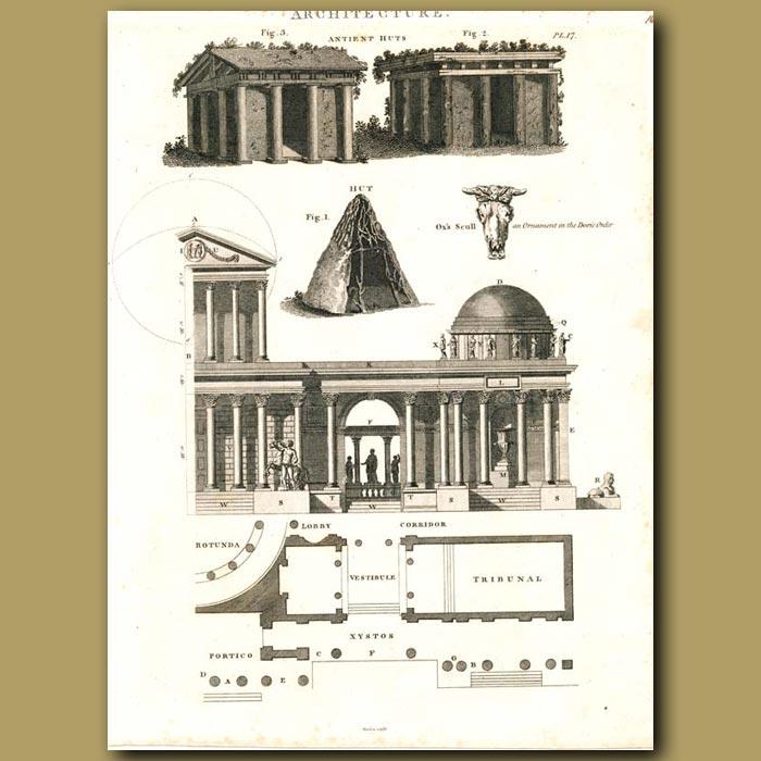 Antique print. Architecture: Ancient huts and majestic temple etc.