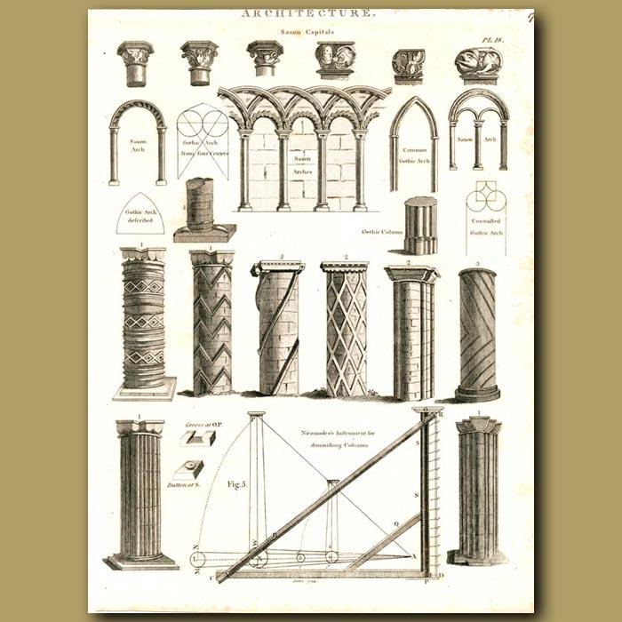 Antique print. Architecture: Types of columns etc.