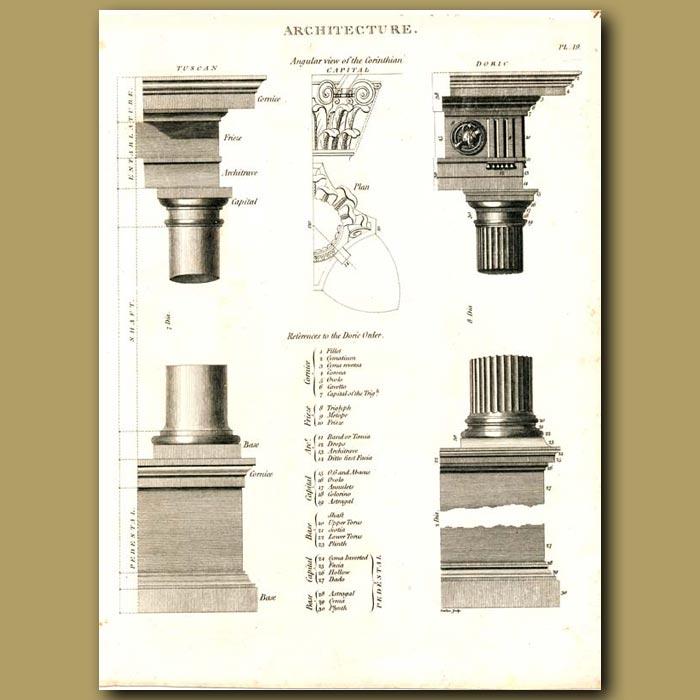 Antique print. Architecture: Corinthian columns etc.