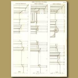 Architecture: Tuscan, Doric and ionic column profiles etc.