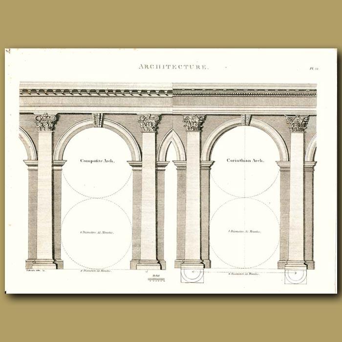 Antique print. Architecture: Composite arch etc.