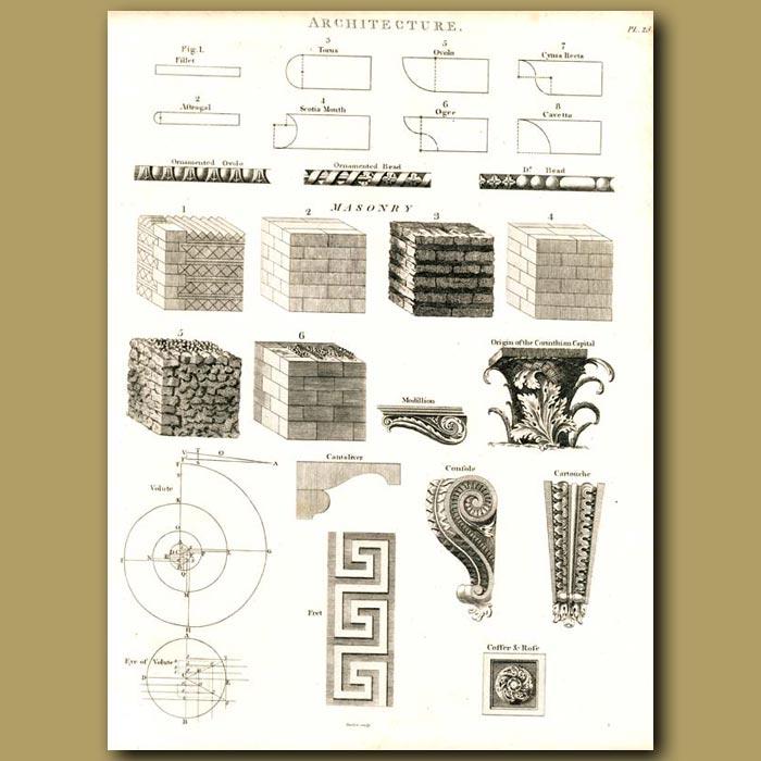 Antique print. Architecture: Masonry etc.