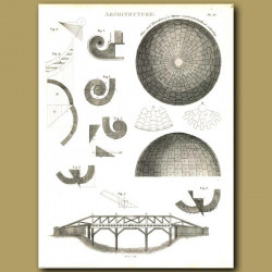 Architecture: Plan of a dome and bridge etc.
