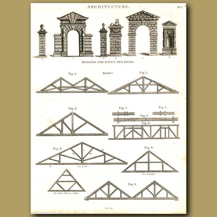 Antique print. Architecture: Designs for gates and piers etc.