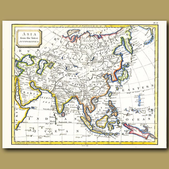 Antique print. Map Of Asia From The Latest Authorities