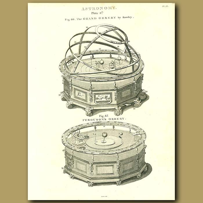 Antique print. The Grand Orrery by Rowley and Ferguson's Orrery