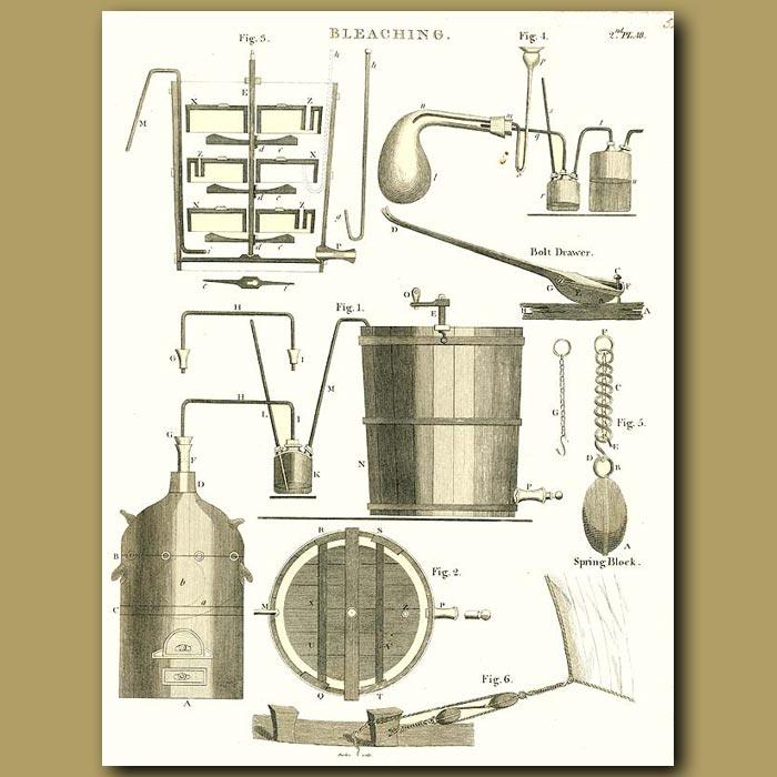 Antique print. Bleaching equipment