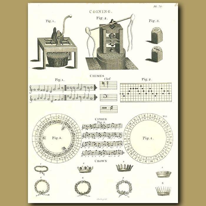 Antique print. Coining