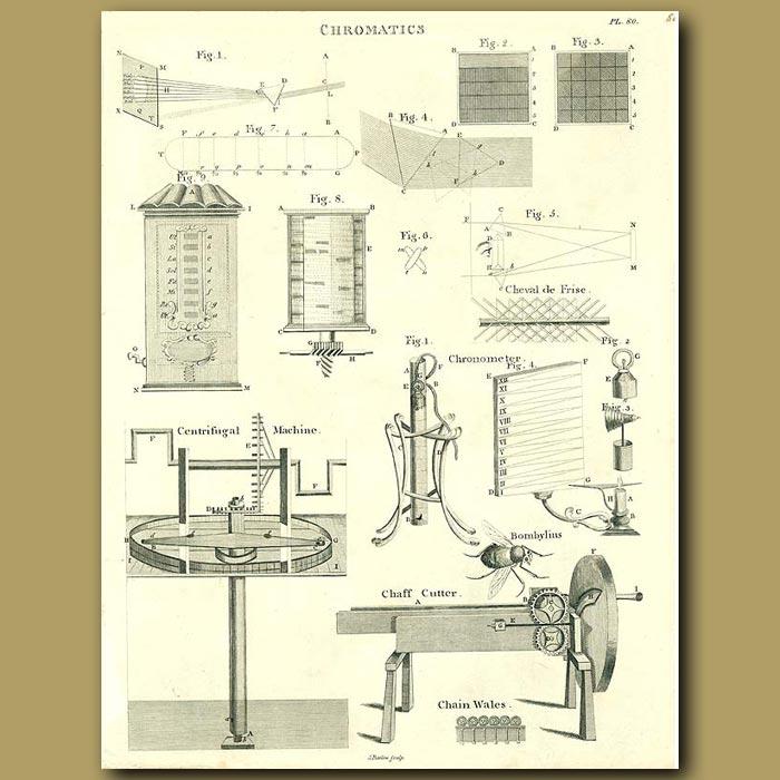 Antique print. Chromatics and centrifugal machine