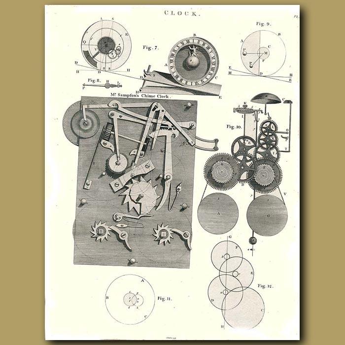 Antique print. Clocks: Mr.Sampson's Chime Clock
