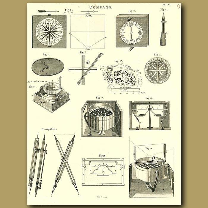 Antique print. Compass