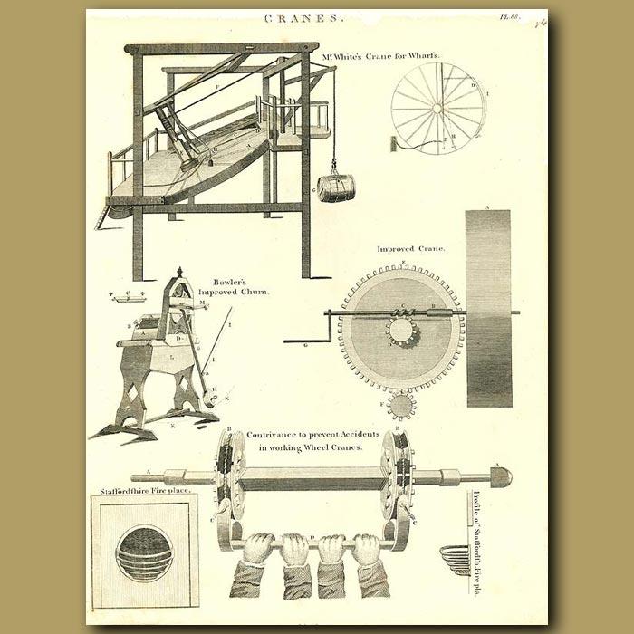 Antique print. Cranes