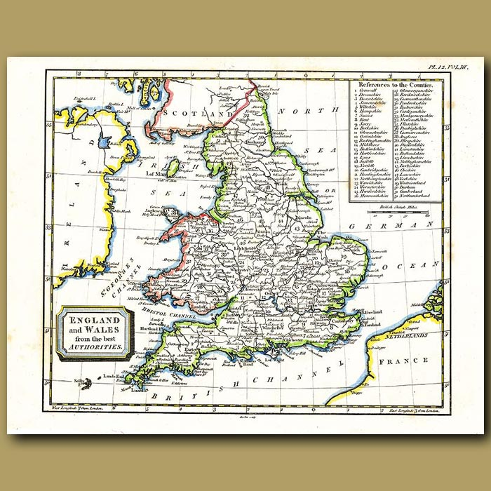 Antique print. Map Of England And Wales By The Best Authorities