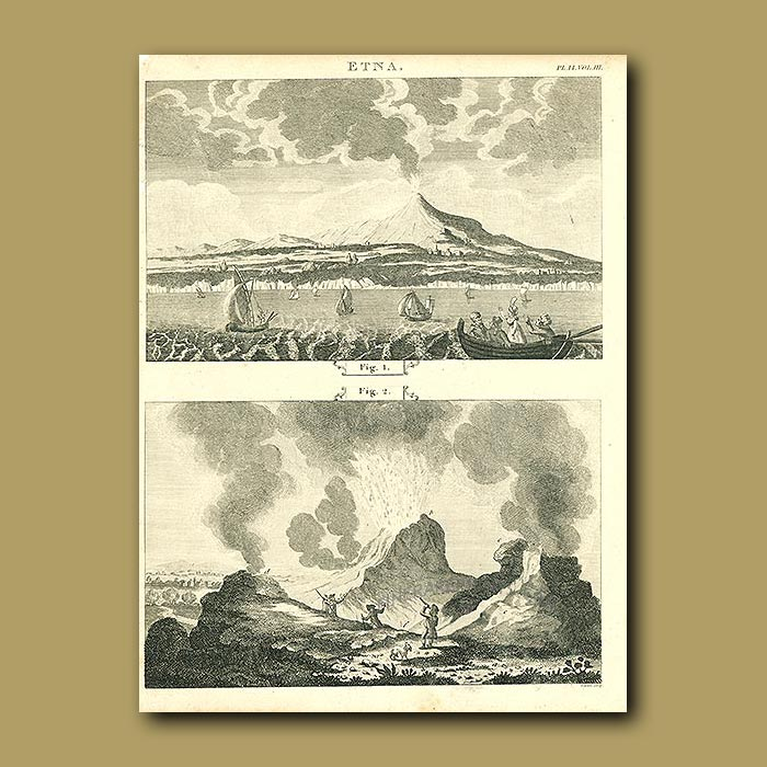 Antique print. Mount Etna With A Close Up Of An Eruption