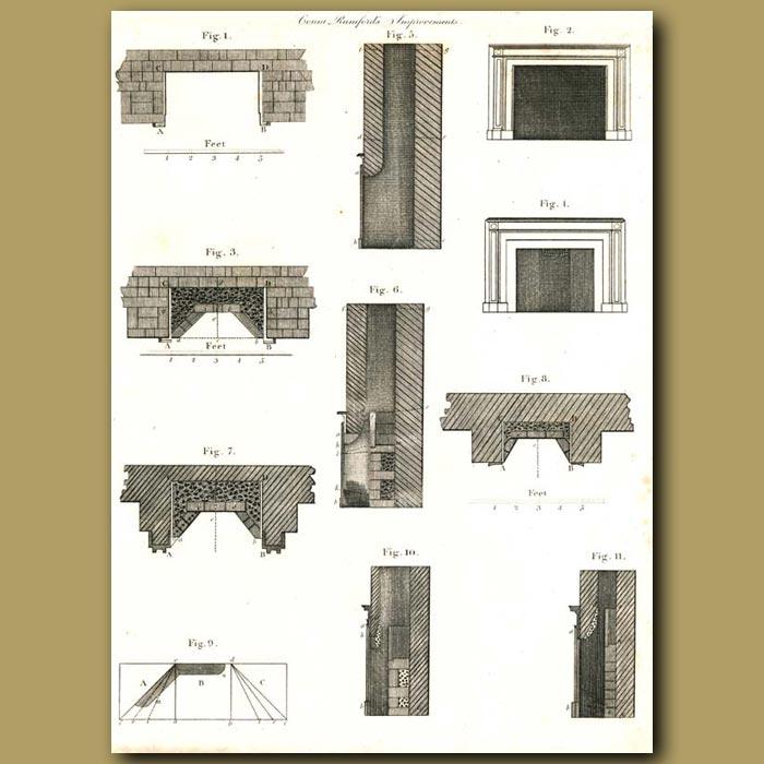 Antique print. Architecture: Fireplace designs etc.