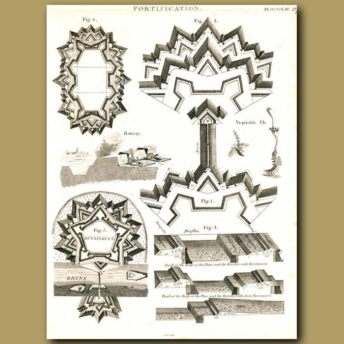 Antique print. Architecture: Fortification etc.