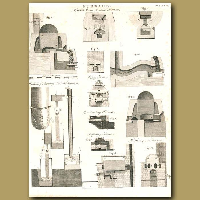 Antique print. Architecture: Furnace's etc.