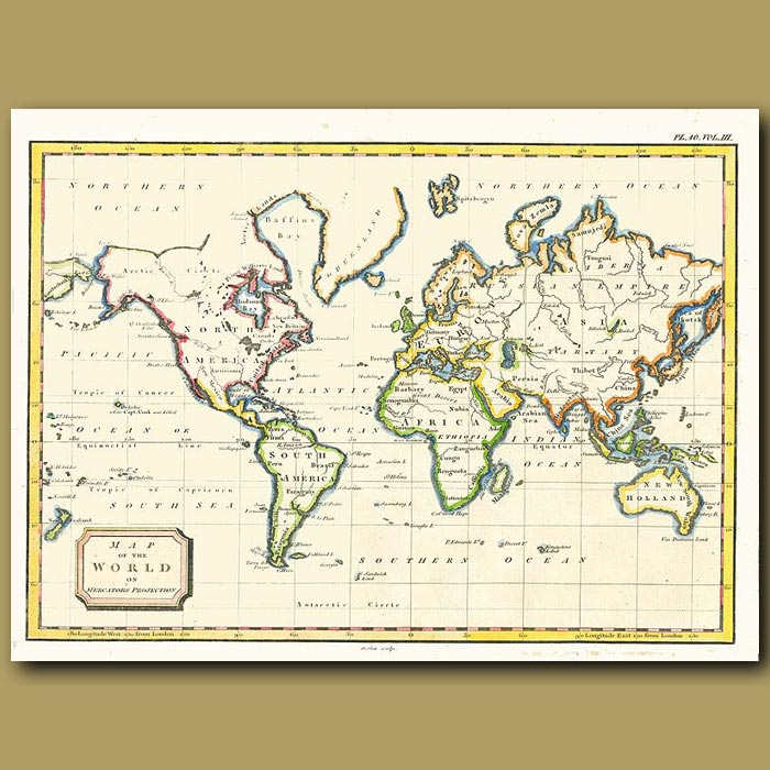Antique print. Map Of The World On Mercator's Projection