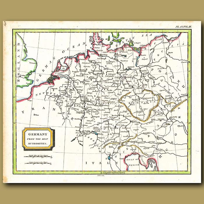 Antique print. Map Of Germany From The Best Authorities