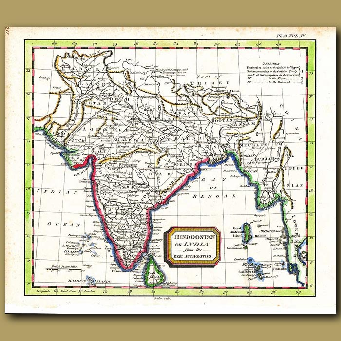Antique print. Map Of India Or Hindoostan From The Best Authorities