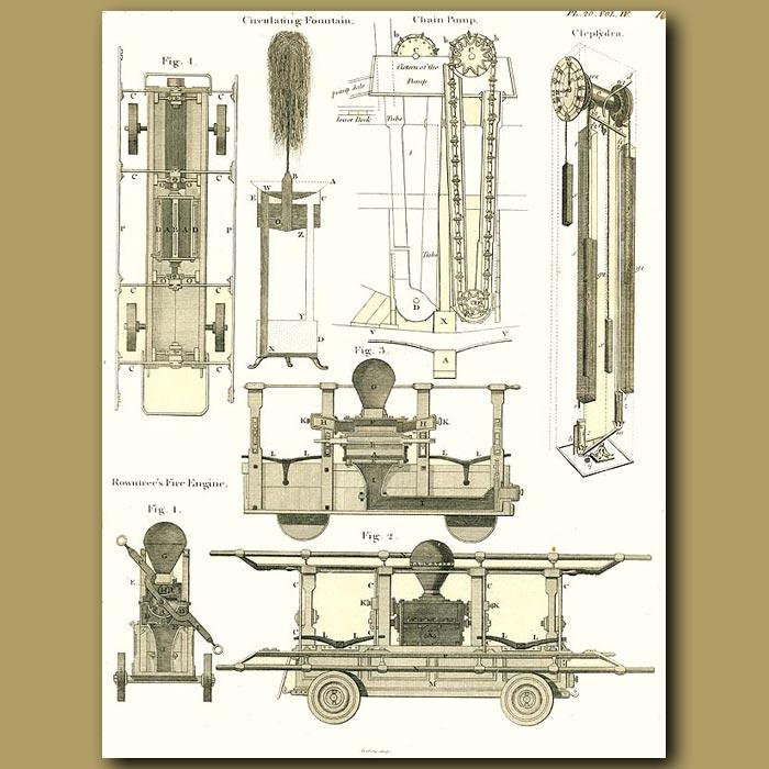Antique print. Fountain, Chain Pump and Fire Engine